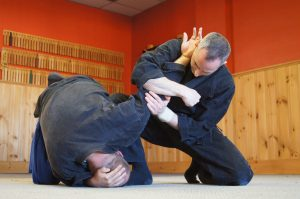 Working an armbar with my friend Tom Lato