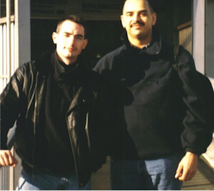 Mark & I outside of a train station during a training trip to Japan in 1997.