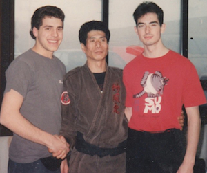 My good friend Mike and I training with Koryu Muramatsu in Connecticut in the early 90s. Dig the hair, Merz...