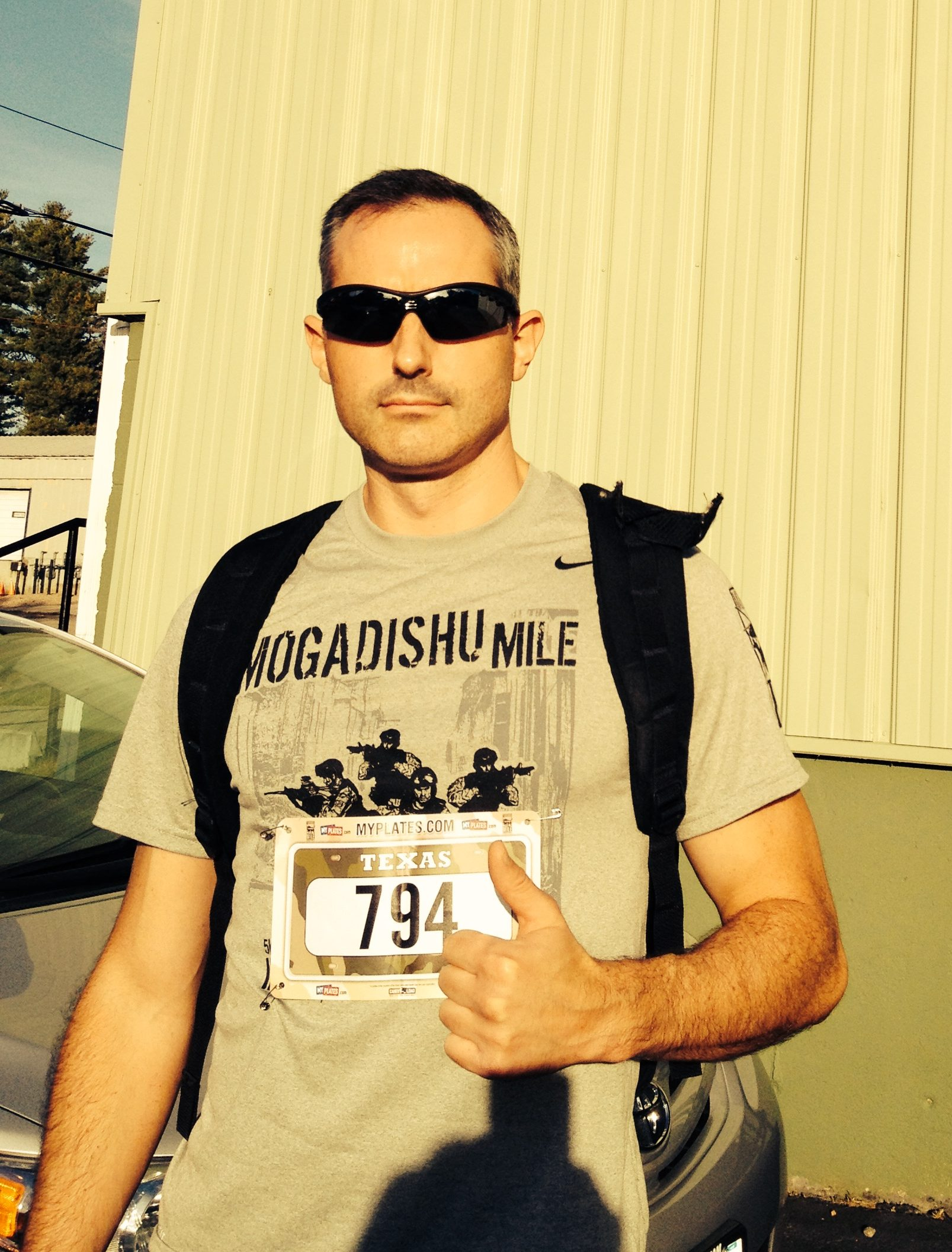 Running the Mogadishu Mile virtual 5k on October 3, 2013 with a weighted ruck...